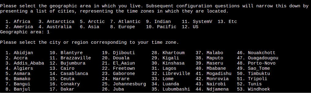 Geographical Area and Timezone