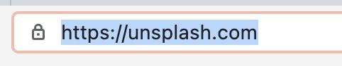 Browser address bar displaying Unsplash URL without WWW