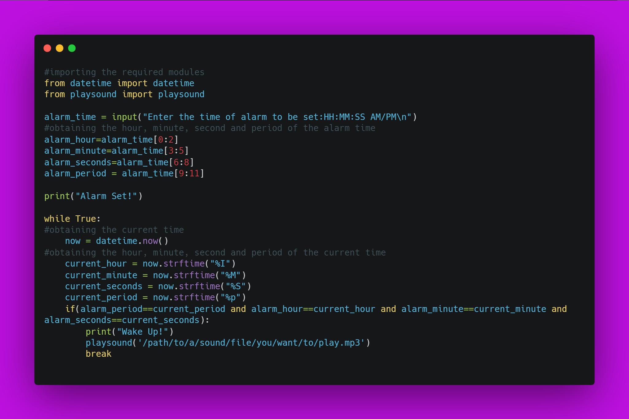 Source code of building an alarm clock using python