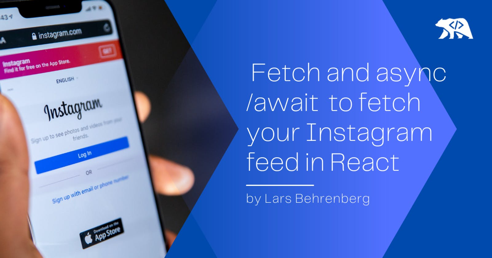 Use Javascript's Fetch API with async/await to fetch your Instagram feed in React