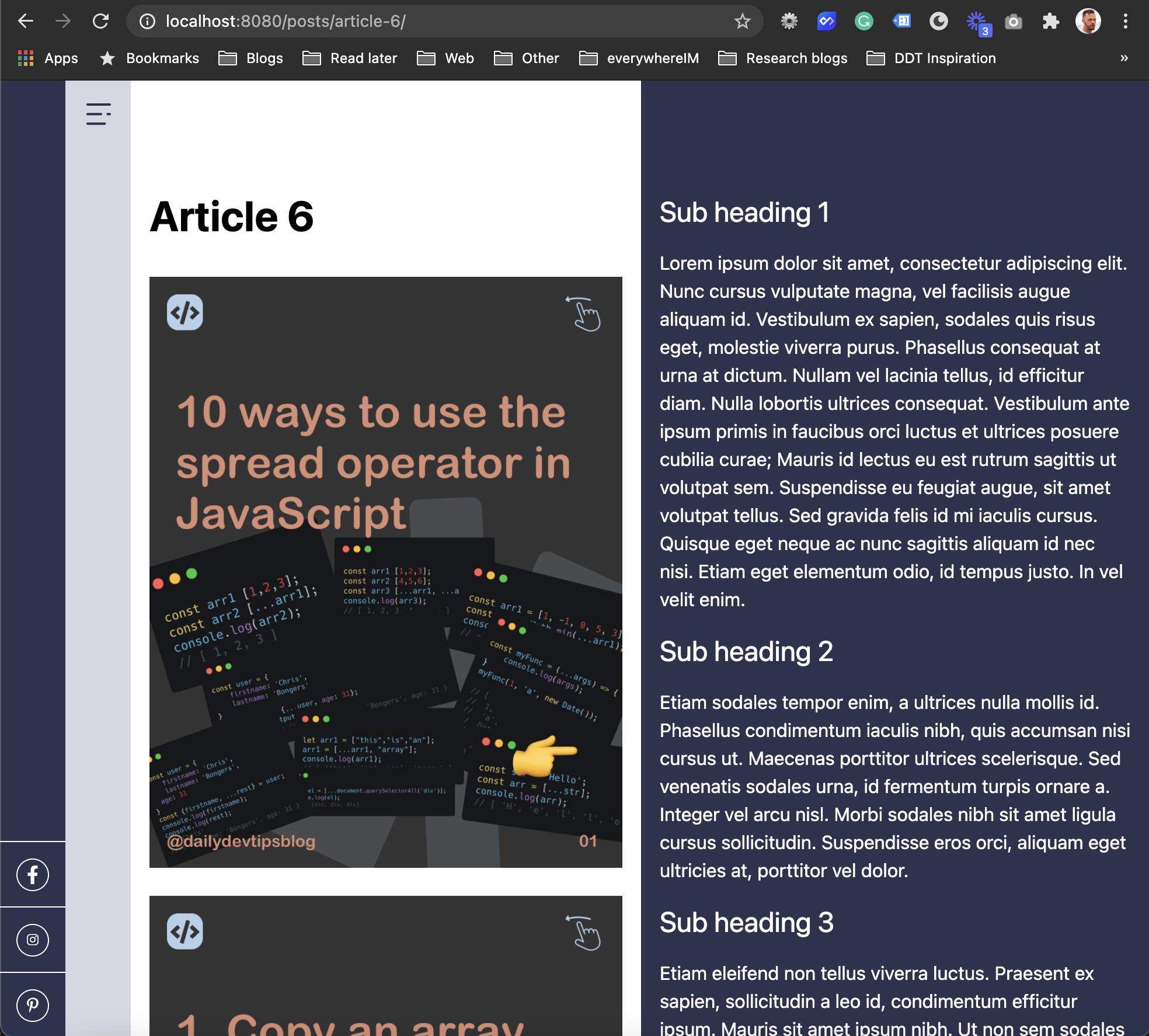 Two column layout in Eleventy markdown