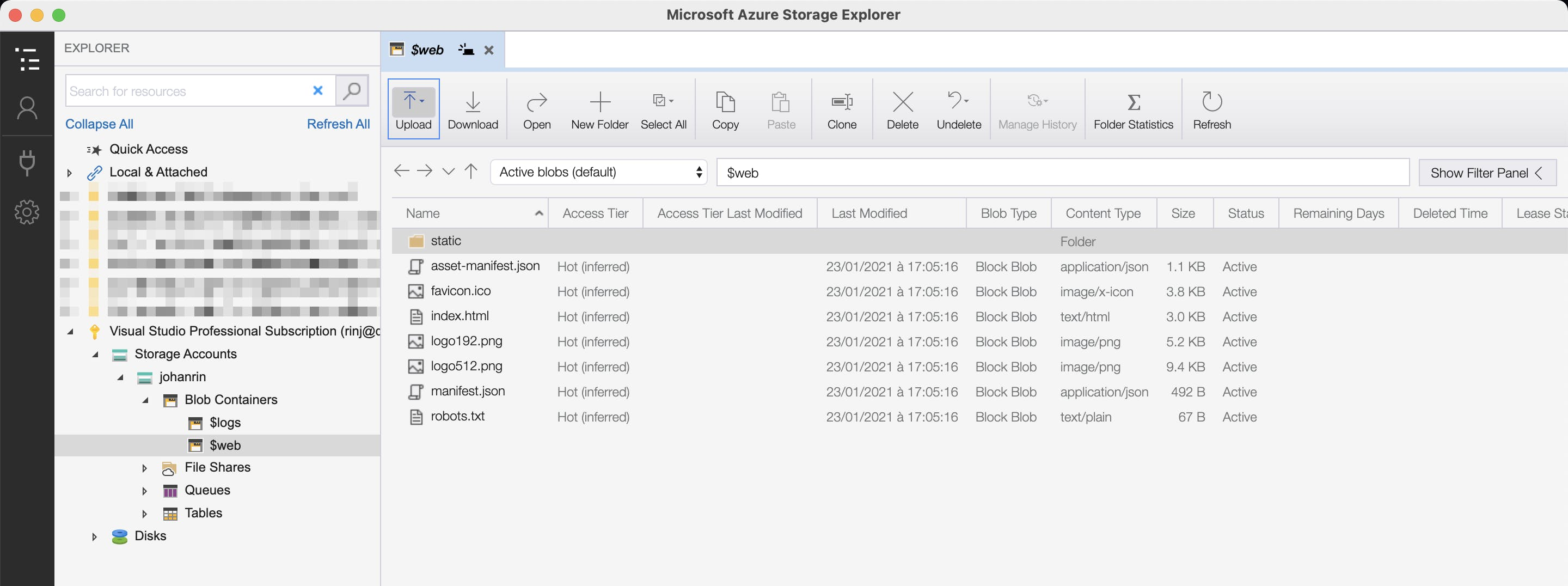 Upload your app with Azure Storage Explorer