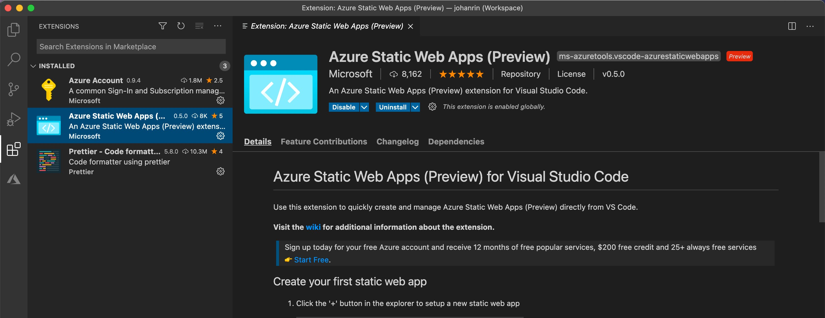 Azure Static Web Apps extension