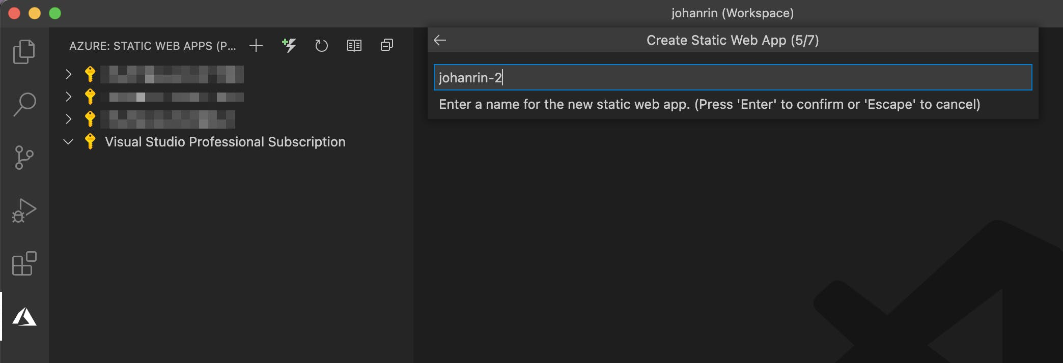 Define the name of your Static Web App