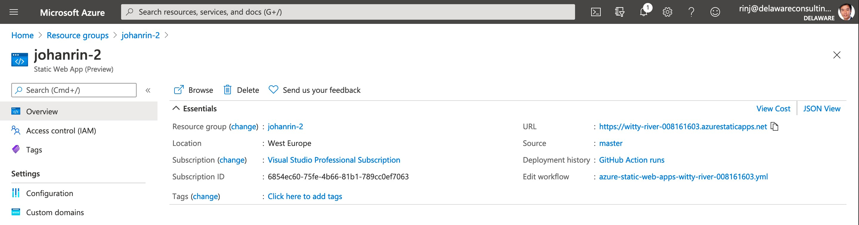 Find your website URL in Azure