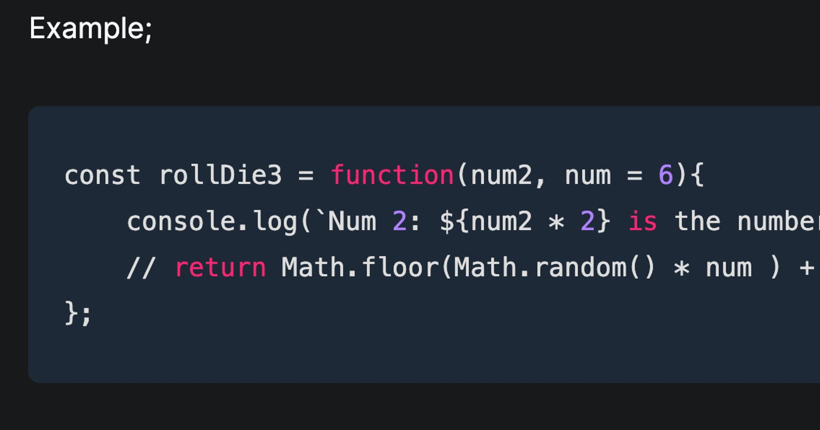 Default Params in JavaScript