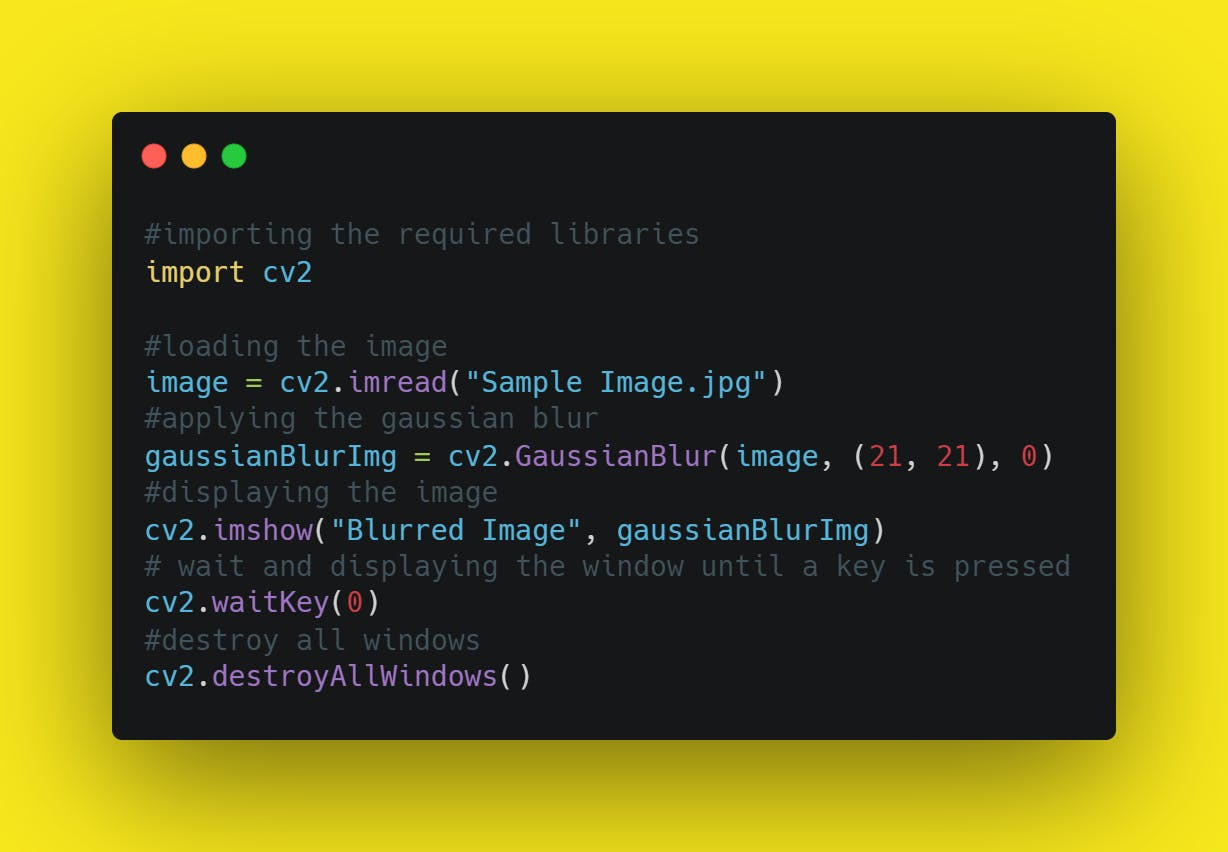 Source code of Converting an Image into Gaussian Blur