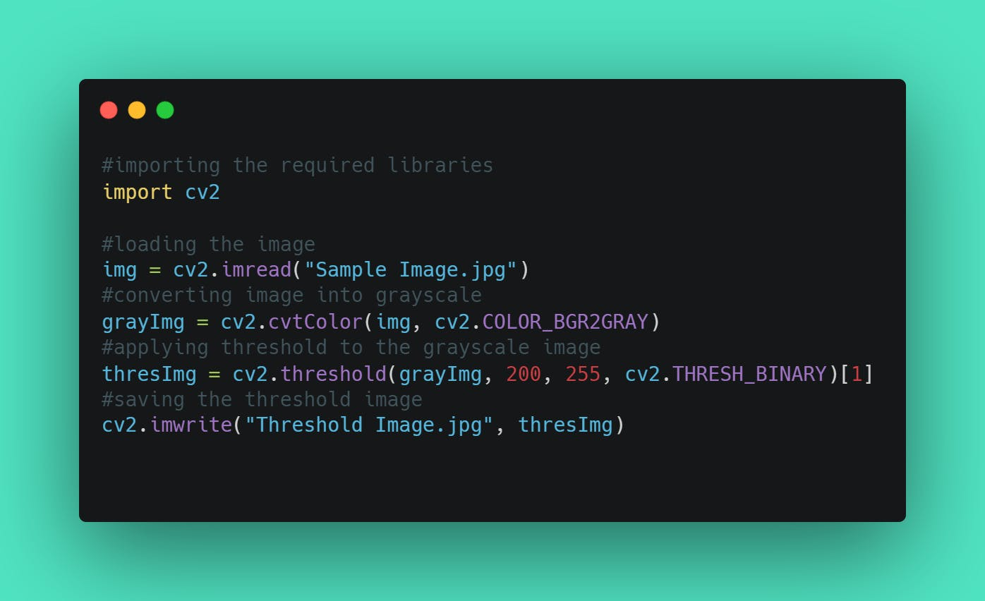 Source code for Applying threshold to an image using Python Opencv