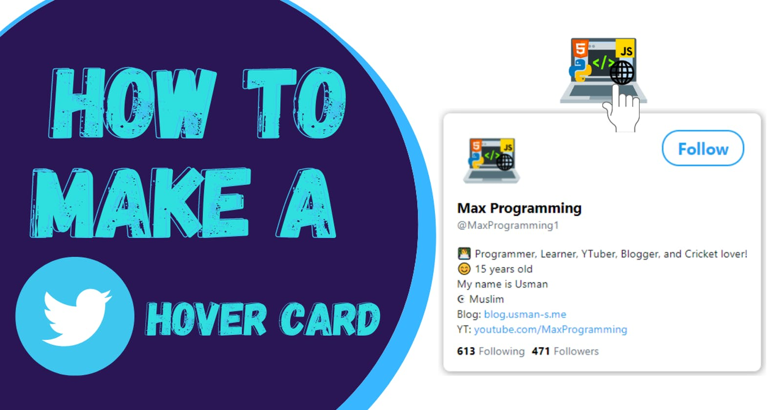 🎨 How to create Twitter Profile Hover Card using HTML and CSS