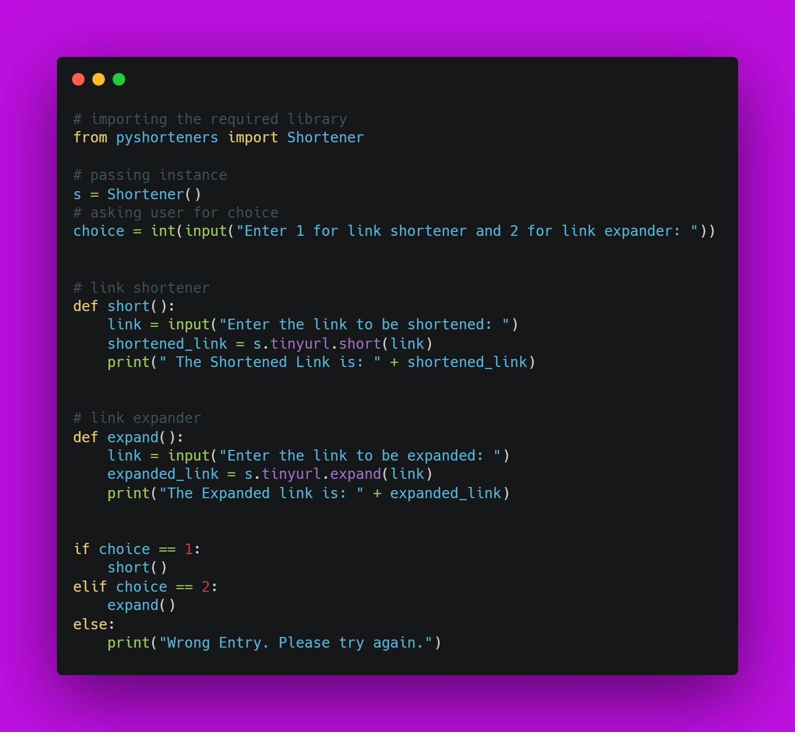 The Final Source Code for URL Shortener and Expander