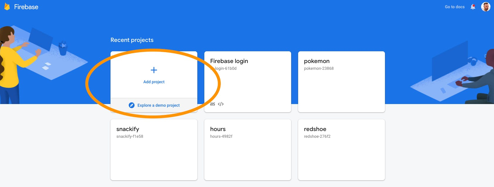 Adding a new project in Firebase