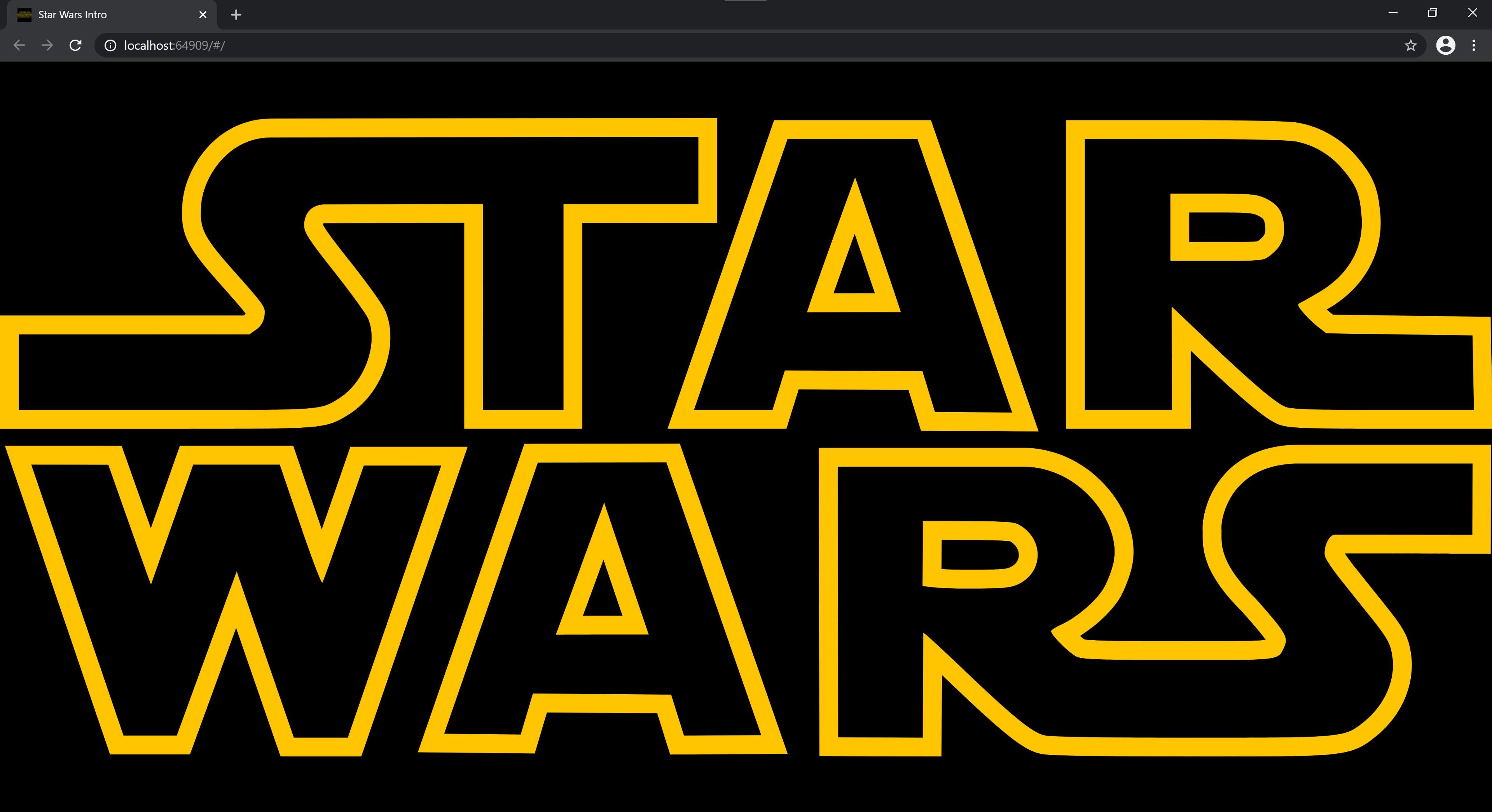 The Star Wars logo showing in a browser window