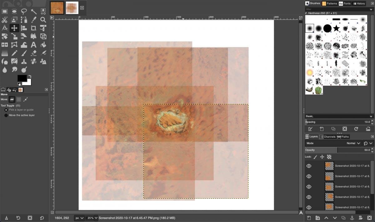Merging the screenshots in GIMP