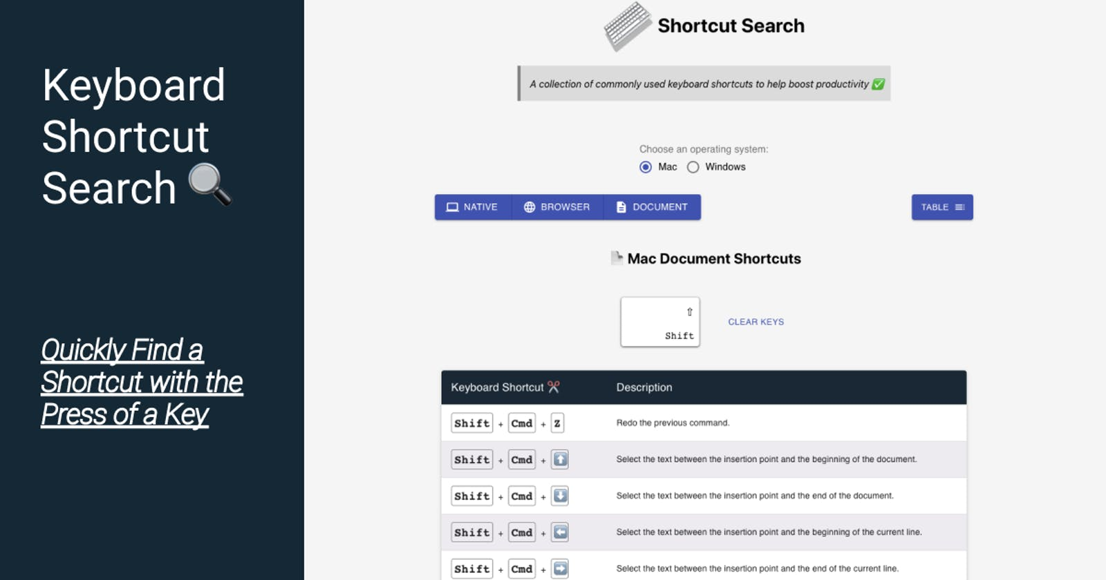 Shortcut Search: Quickly Find a Shortcut with the Press of a Key