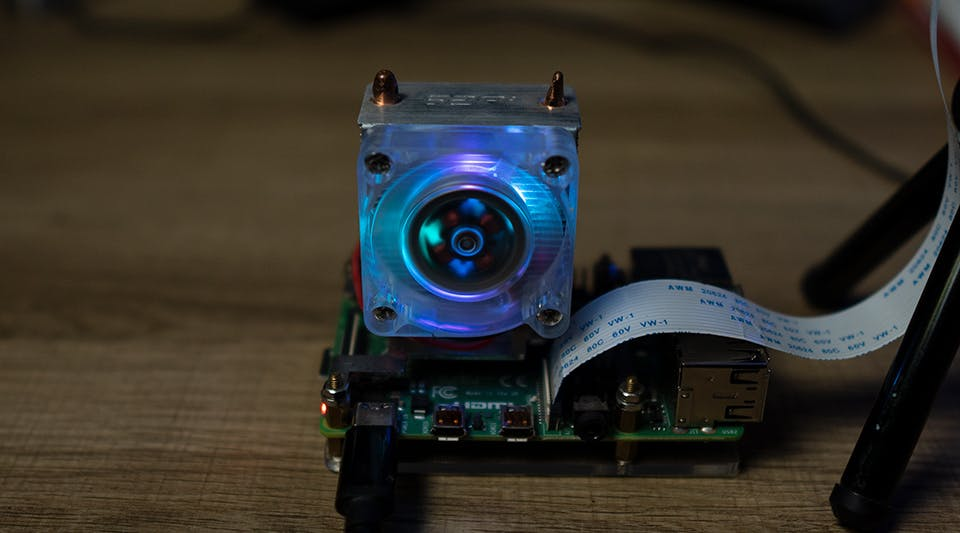 Raspberry Pi 4 with external CPU cooler