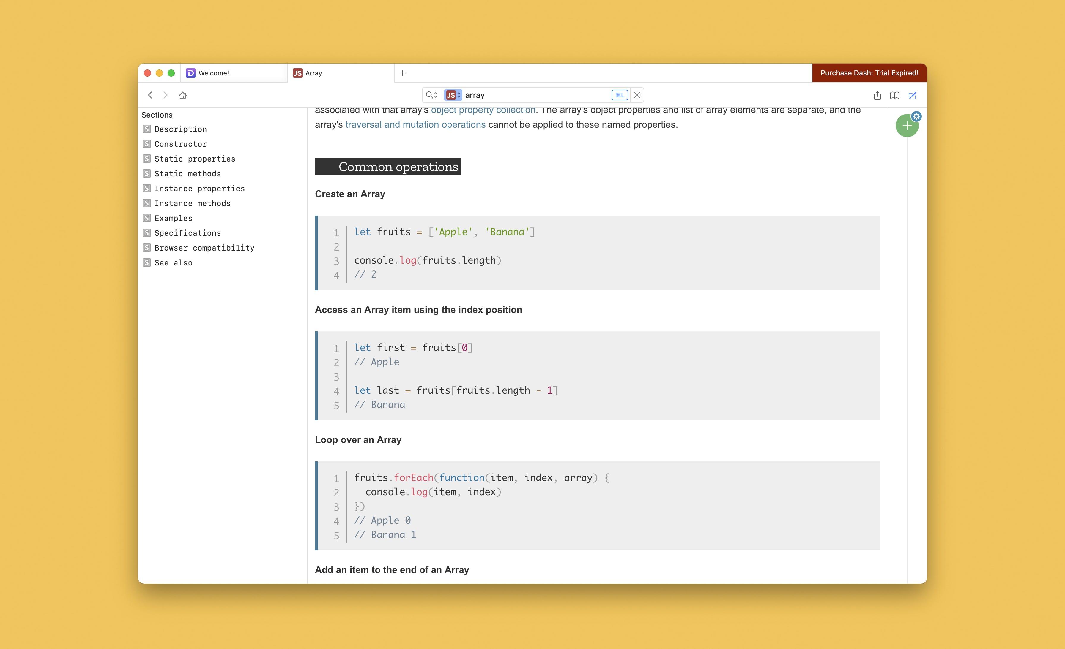 Dash Window with Javascript array method open