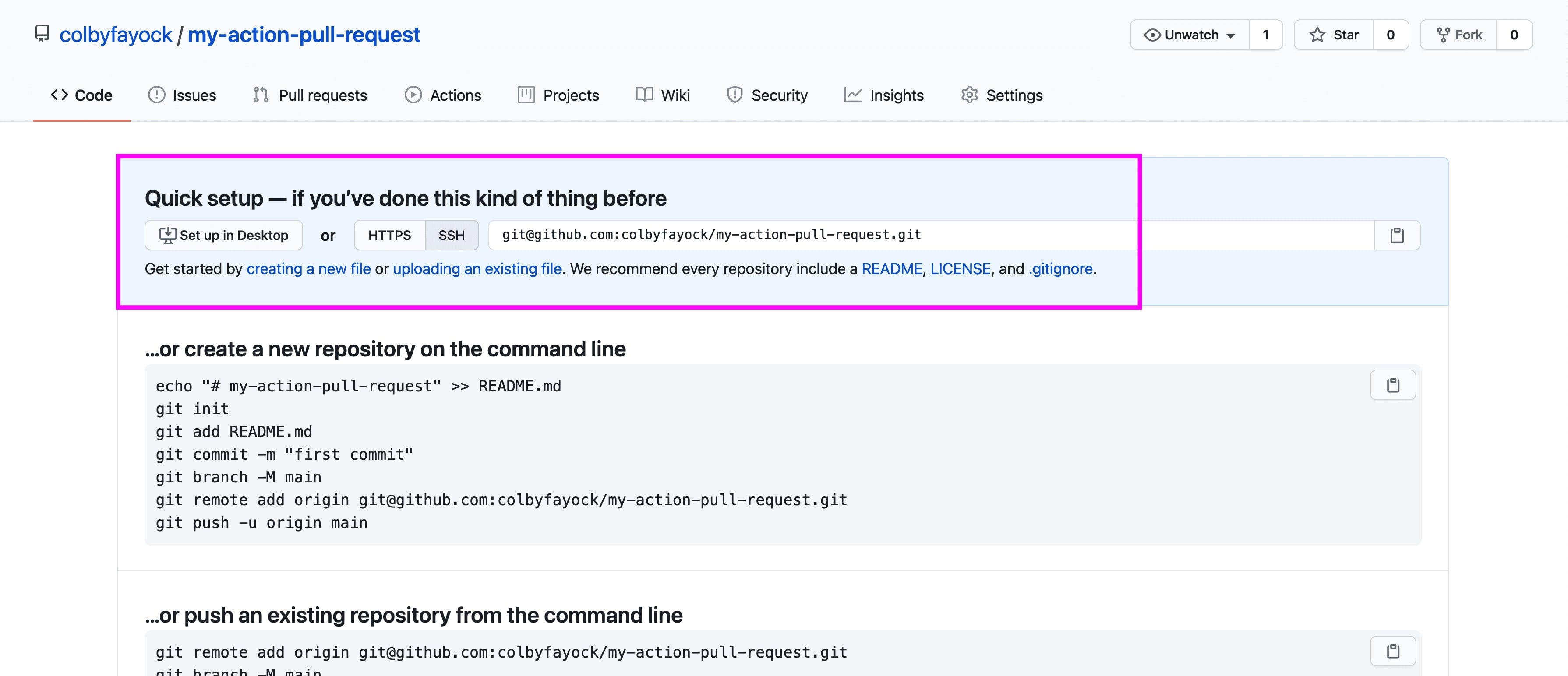 Quick setup in a new GitHub repository