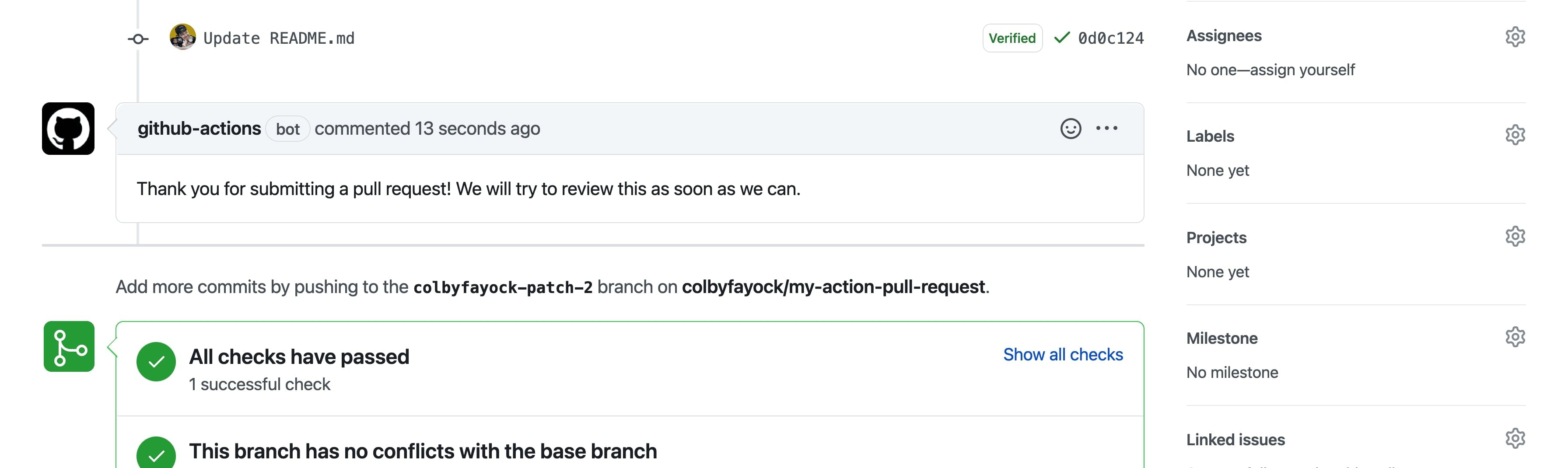 """""""Thank you"""" message on a Pull Request"""