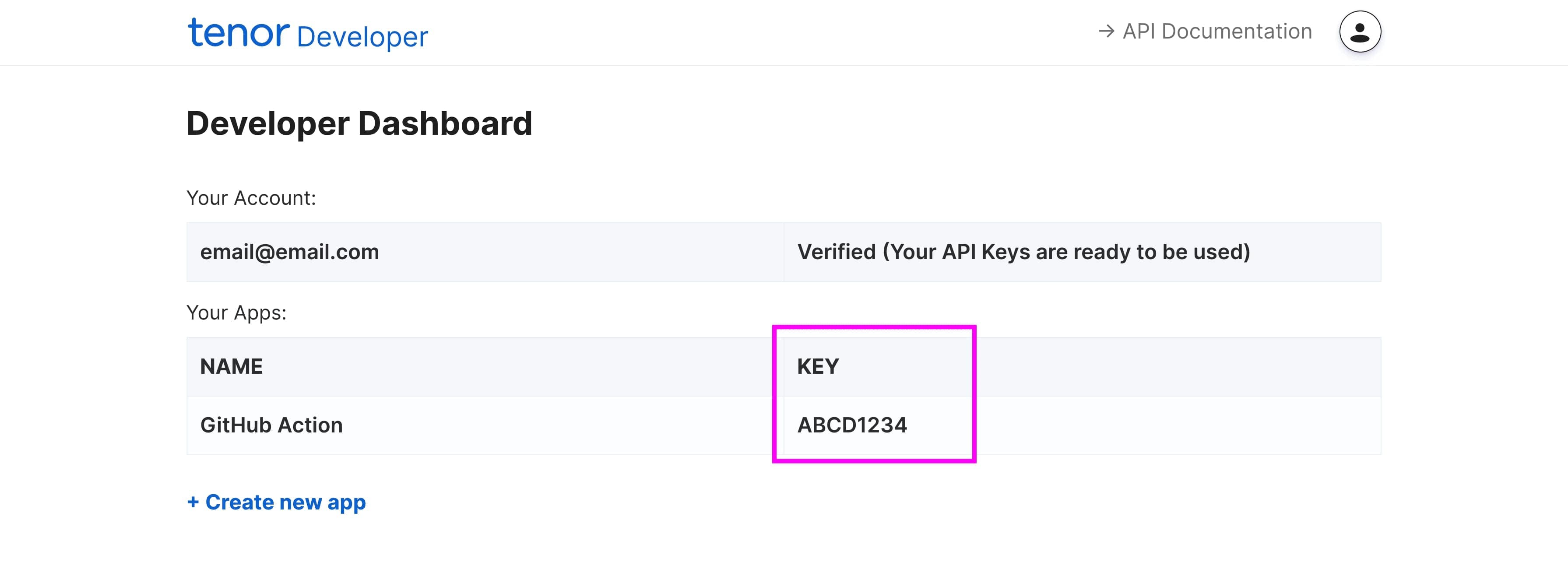 Finding the Tenor API key