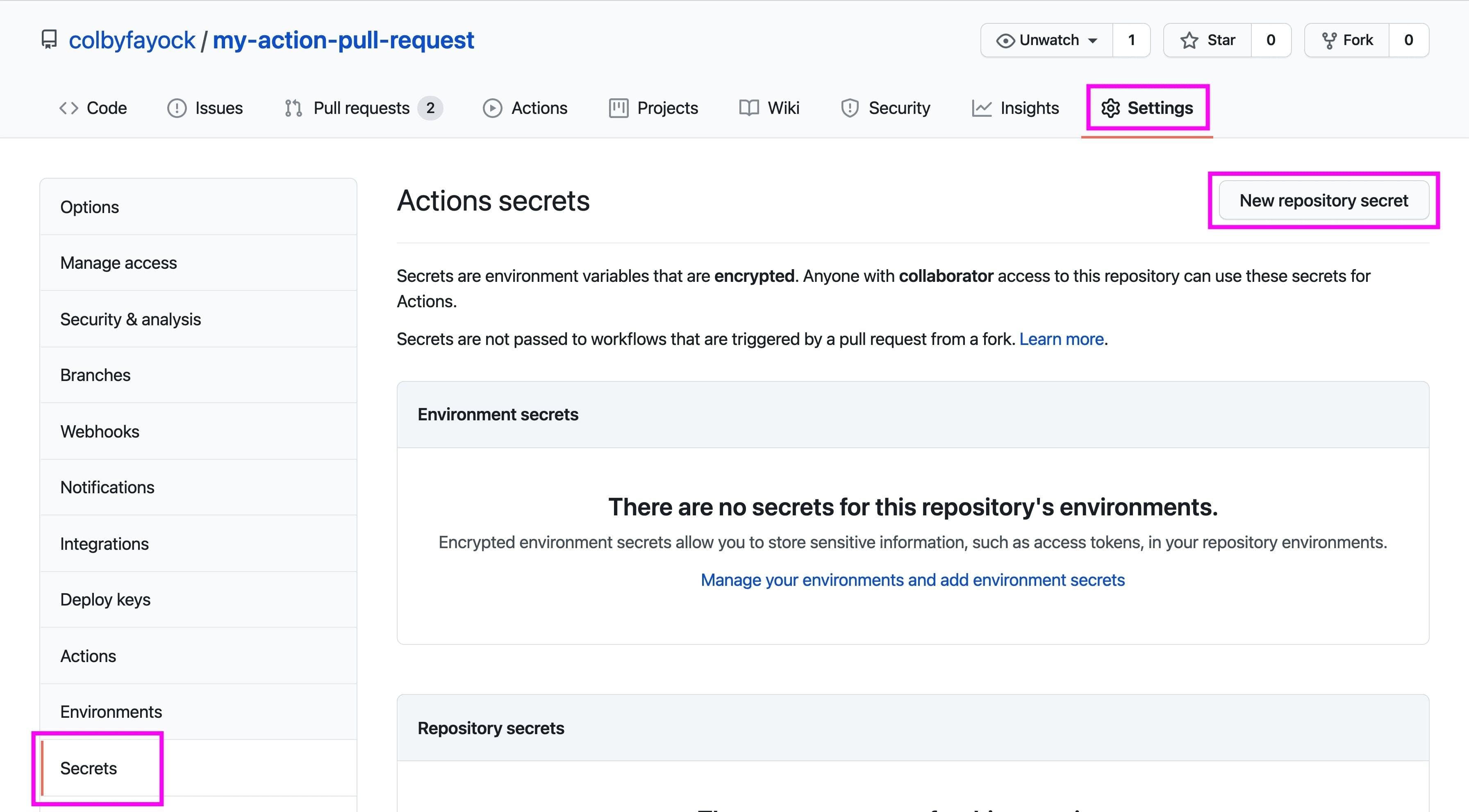 Adding a new Secret in GitHub