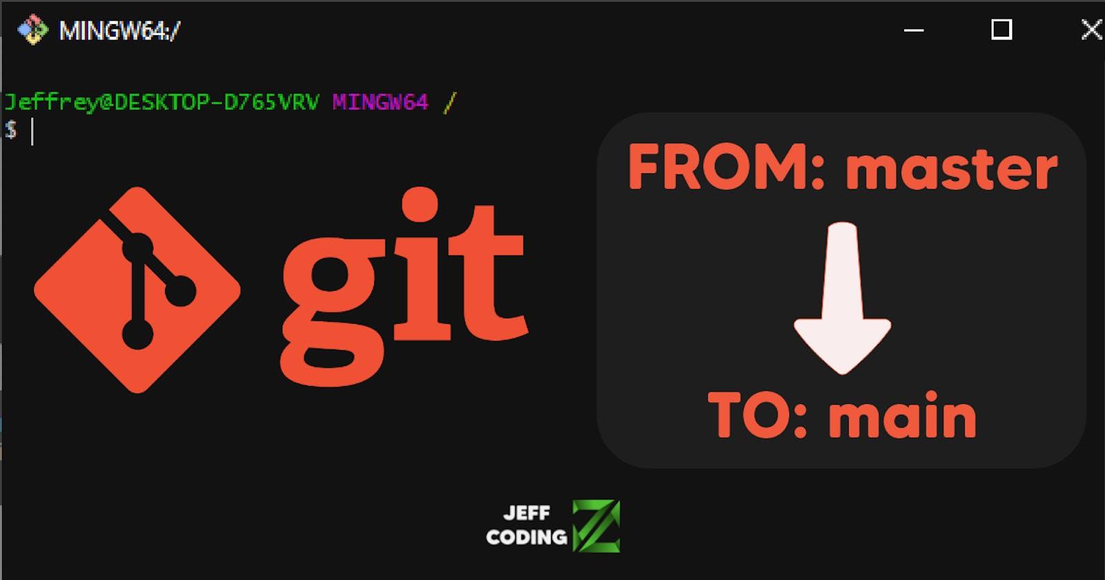 Cambiando el branch por defecto en Git (de master a main)