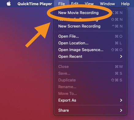 Quicktime movie recording