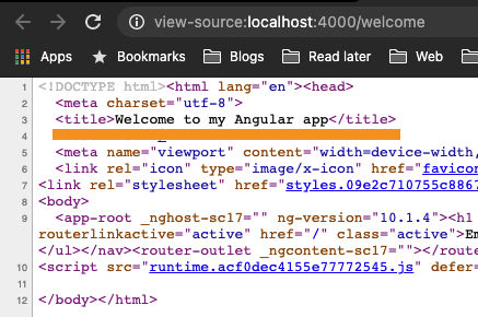 Angular Title in source code