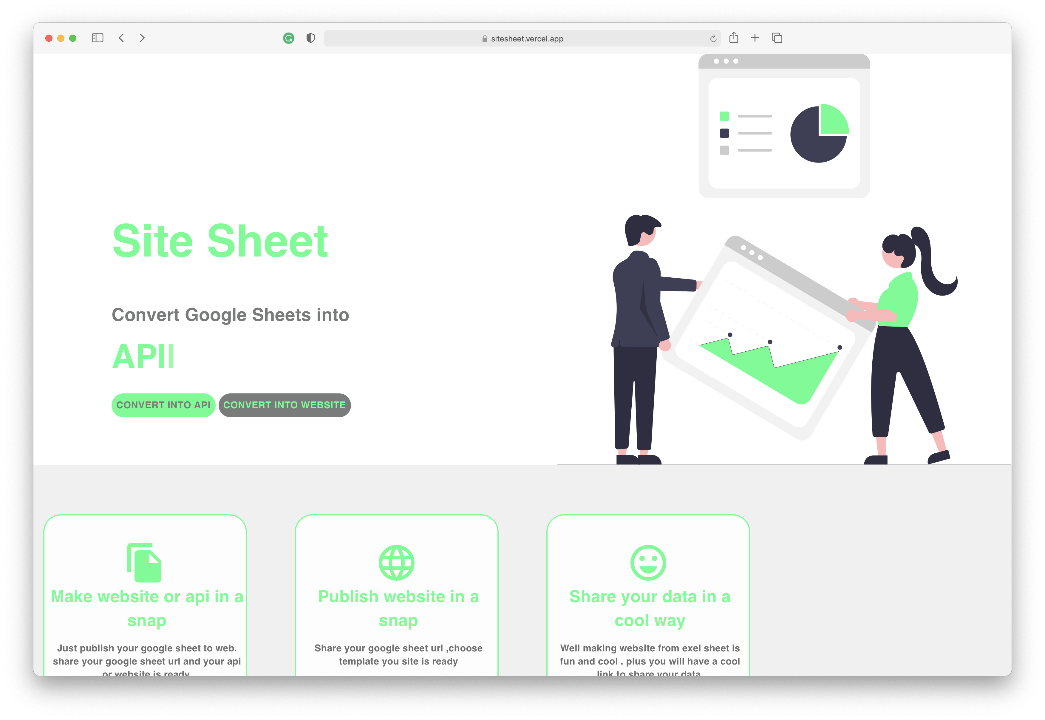 SiteSheet - Convert Google Sheet into API or Website in a Snap