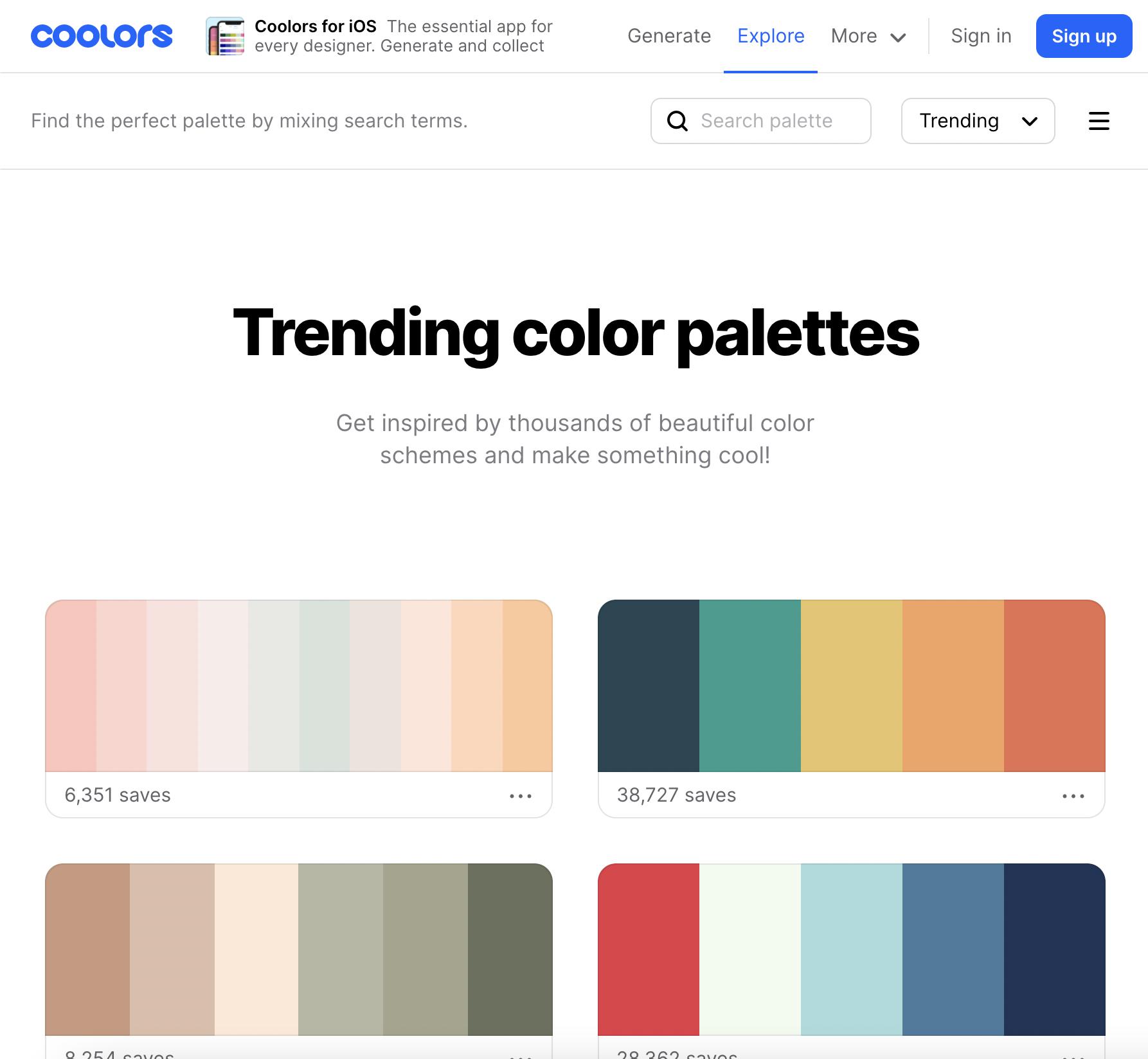 Coolors color schemes