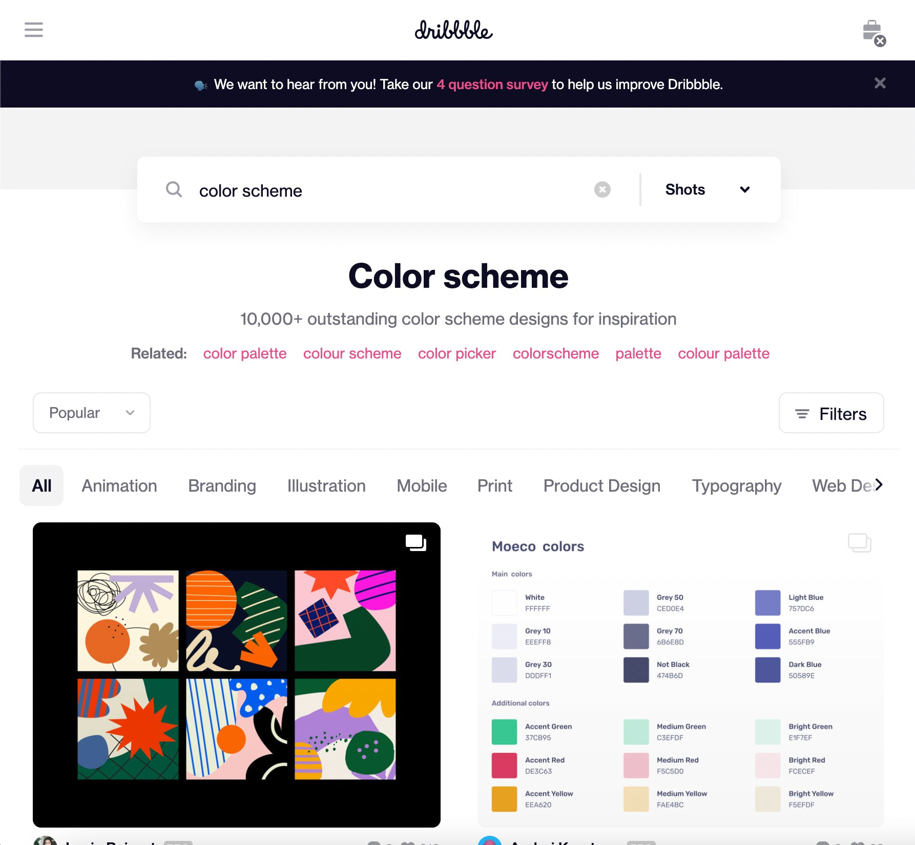 Dribbble color schemes
