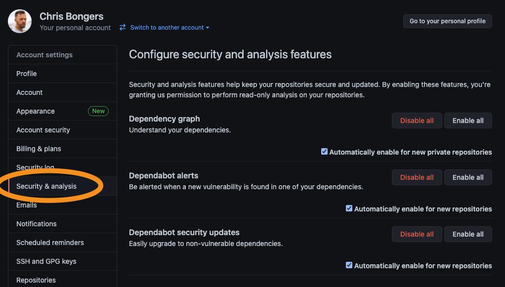 Dependabot settings in GitHub