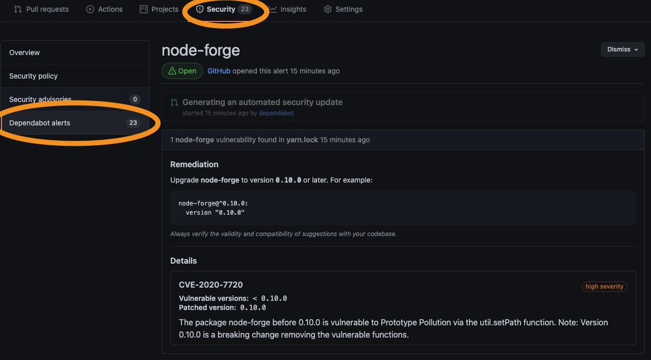 GitHub dependabot alerts