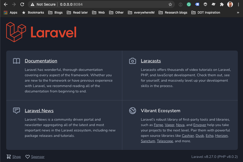 Laravel app running via Docker