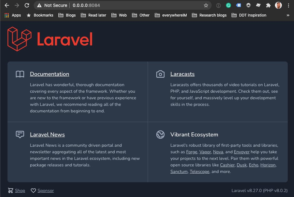 Laravel app running via Docker