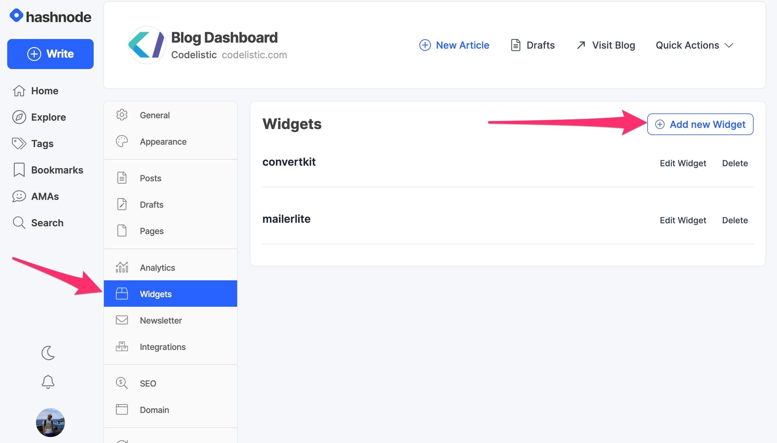 Hashnode Blog Dashboard showing the Widget tab and Add New Widget button