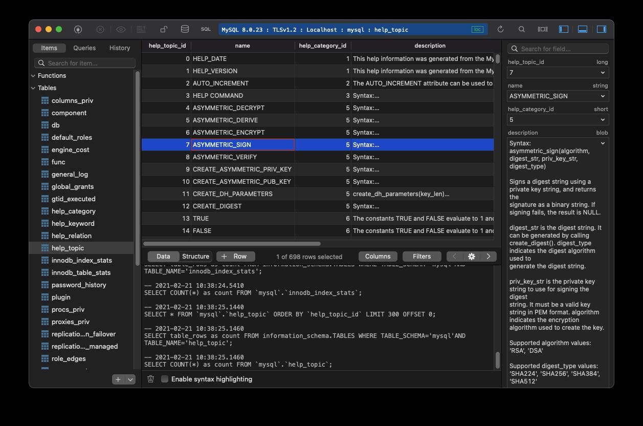 TablePlus MySQL client for Mac