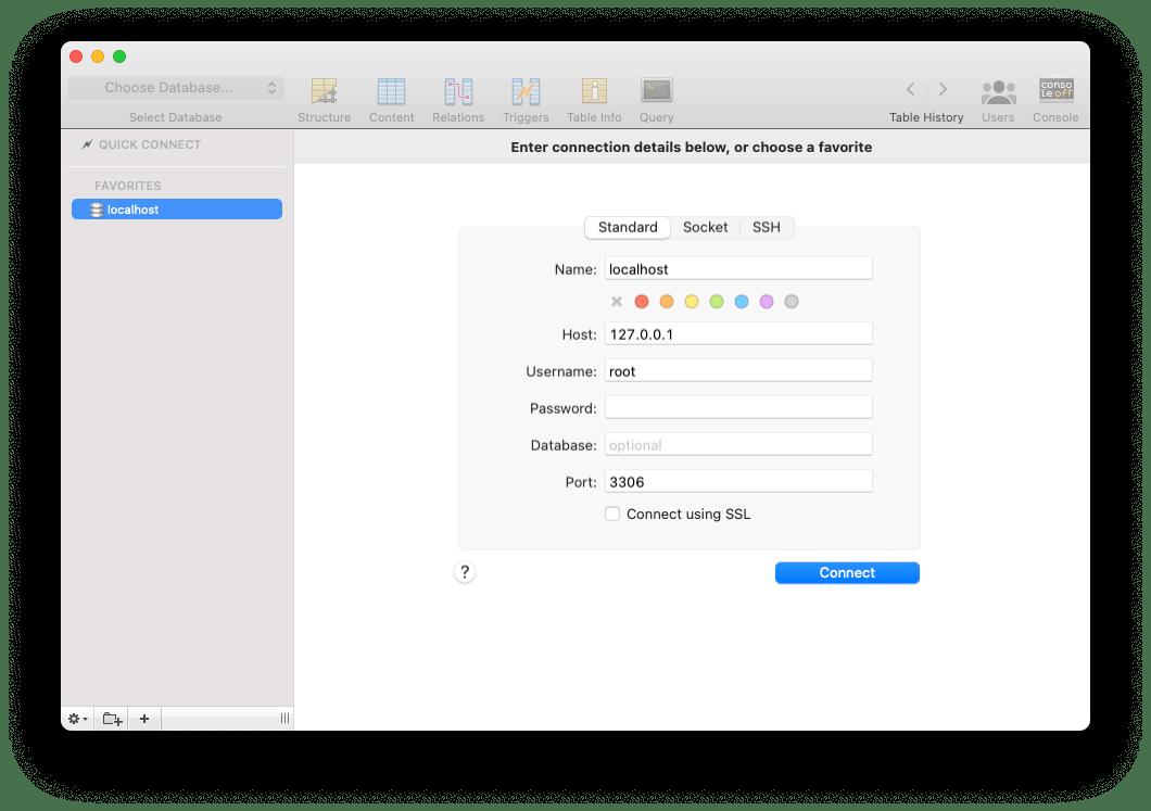 Sequel Pro MySQL client for Mac