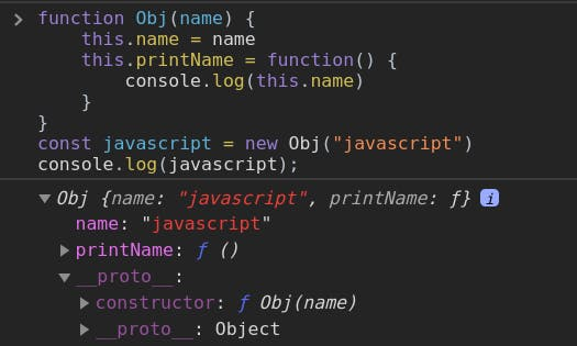 Illustrating the relationship between javascript and the constructor function of the prototype property in Obj