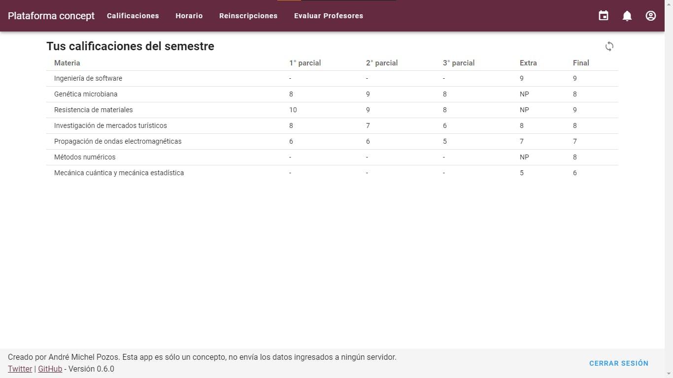 Captura de pantalla de Plataforma Concept