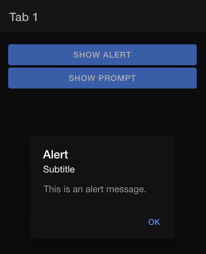 Ionic default alert