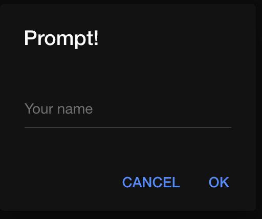 Ionic prompt form