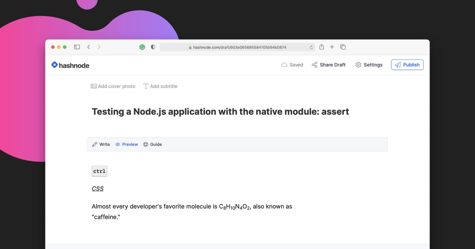 Hashnode's editor now supports 8 new HTML tags - kbd, abbr, sub, sup, and more!