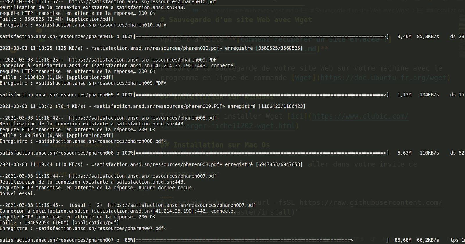 Sauvegarde d'un site Web avec Wget