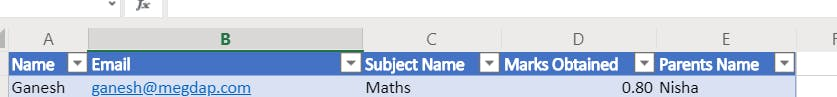Name, Email, Subject Name, Marks Obtained, Parents Name