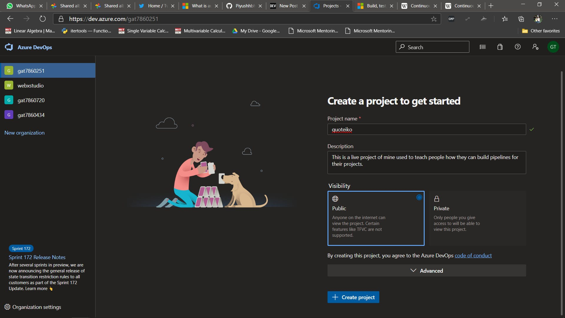 Project Creation Screen