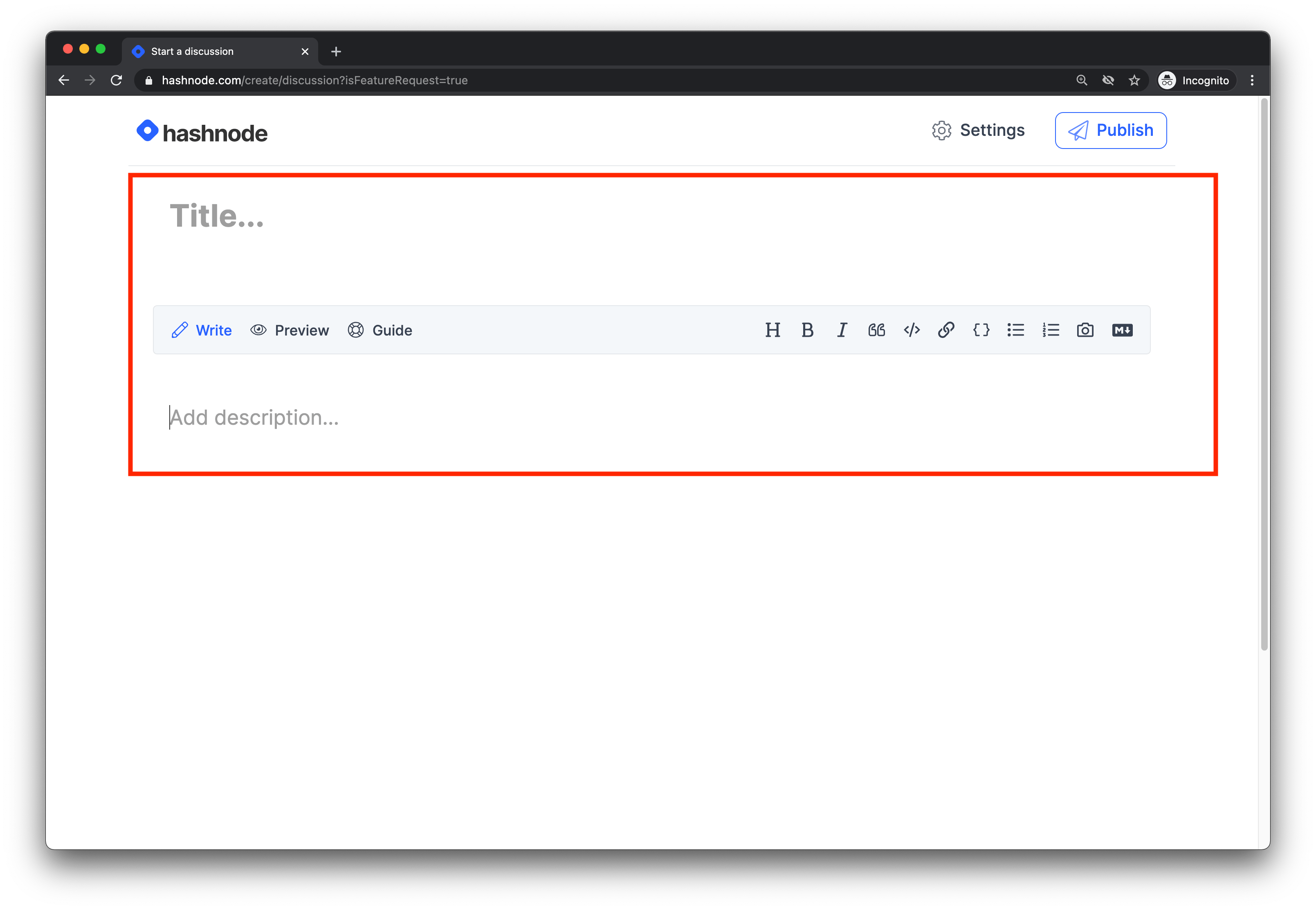 Hashnode Feature Request Page