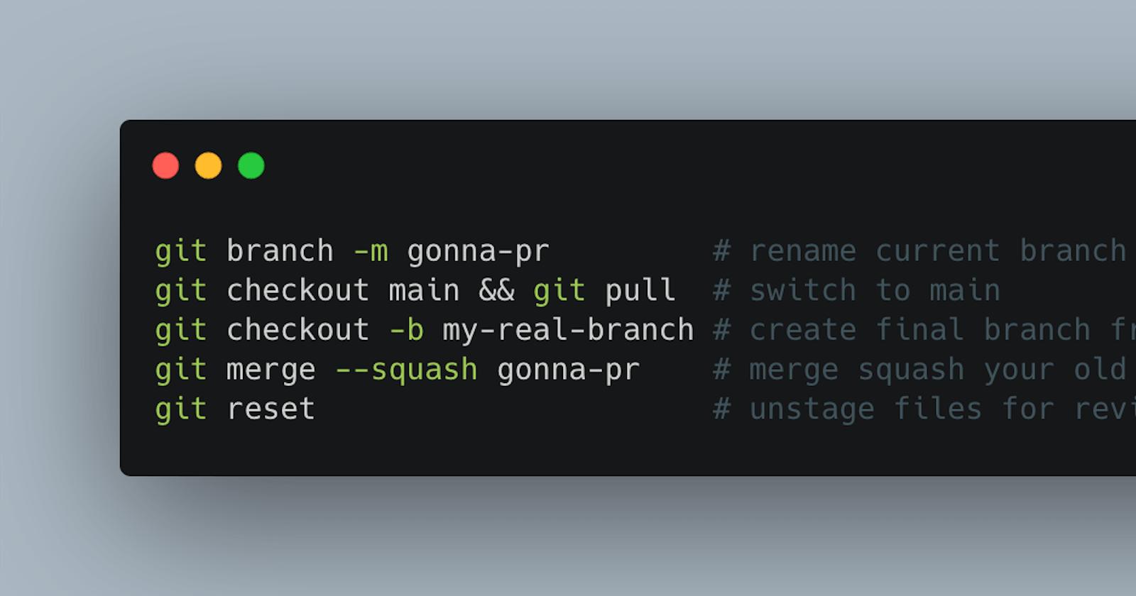 Make clean PRs with git merge --squash