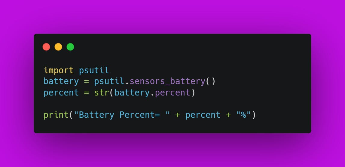 Final Source Code for Battery Percentage Checker Using Python