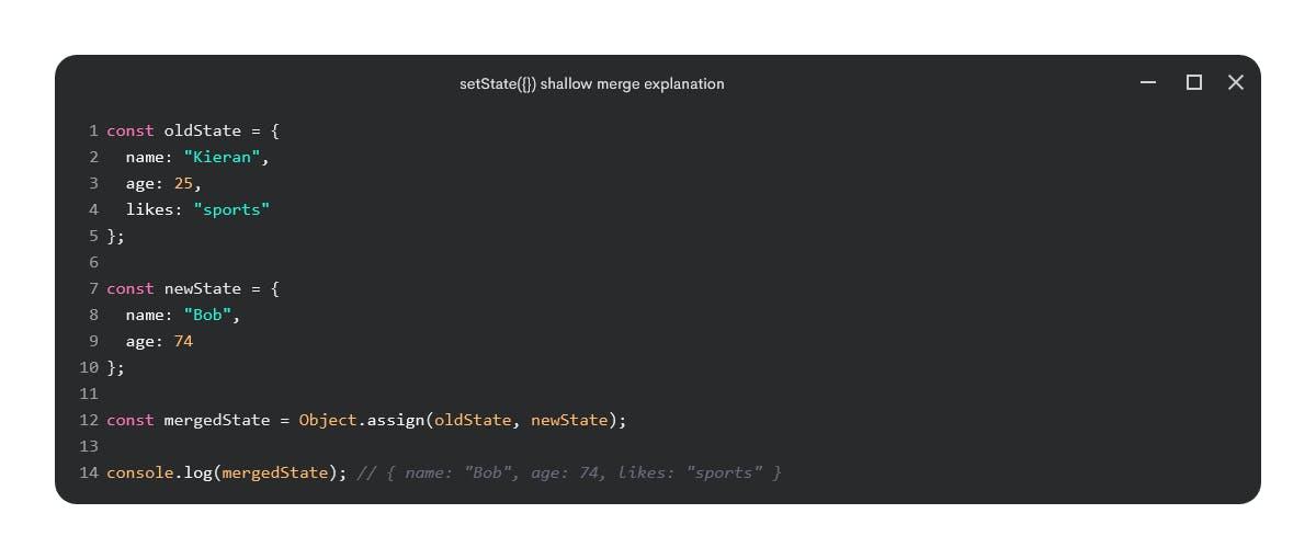 setState({}) shallow merge explanation