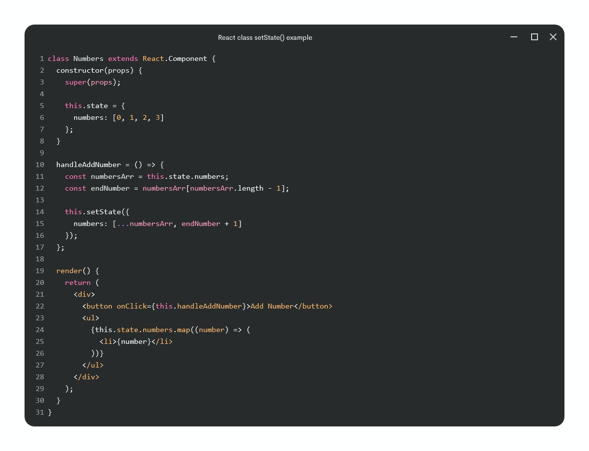 React class complete example